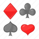 card, cartoon, diamonds, hearts, poker, sign, suits icon