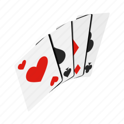 ace, card, club, game, heart, isometric, magic icon