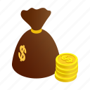 bag, currency, dollar, full, isometric, money, sack icon