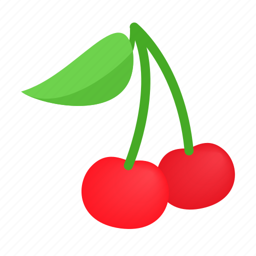 berry, cherry, food, fruit, isometric, ripe, sweet icon