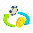 casino, chance, chip, dollar, luck, modern, money icon