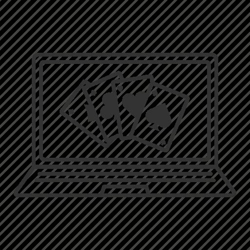 blackjack, casino, kare, laptop, online, poker icon