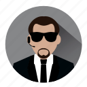 agent, bodyguard, fbi, guard, men in black, police, security icon