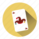 buffon hat, cards, casino, gambling, jester, joker, joker card icon