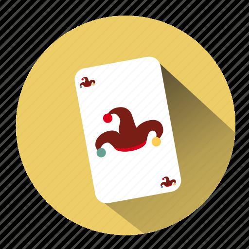 buffon hat, cards, casino, gambling, jester, joker, joker card icon