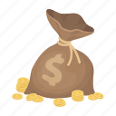 bag, bagful, coin, dollar, money