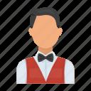 casino, croupier, dealer, gambling, staff icon