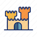 beach, building, castle, holiday, sandy icon