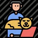 human, work, pussycat, kitty, kitten, cat, pet