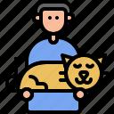 pet, interaction, human, love, kitten, sleep, cat