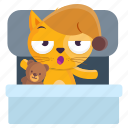 bedtime, cat, emoji, emoticon, sleep, sticker icon