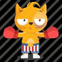sticker, cat, athlete, emoji, emoticon, boxing