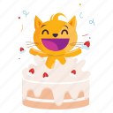 sticker, cake, cat, celebrate, emoji, emoticon
