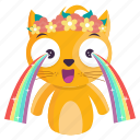 sticker, cry, cat, rainbow, emoji, emoticon
