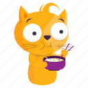 cat, eating, emoji, emoticon, food, sticker