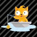 sticker, emoji, fishing, emoticon, cat
