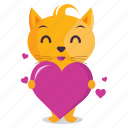 cat, emoji, emoticon, heart, love, sticker icon