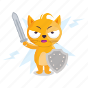 cat, emoji, emoticon, knight, sticker, weapon