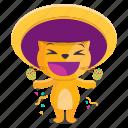 sticker, cat, mexican, celebration, emoji, emoticon