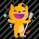 cat, emoji, emoticon, karaoke, music, sticker icon