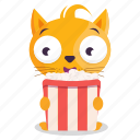 cat, emoji, emoticon, movie, popcorn, sticker icon