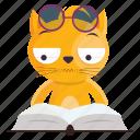 cat, emoji, emoticon, reading, sticker icon