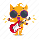 cat, emoji, emoticon, music, rockstar, sticker