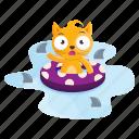 sticker, cat, shark, swimming, emoji, emoticon