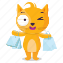cat, emoji, emoticon, shopping, sticker