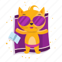 cat, emoji, emoticon, relax, sticker, sunbathing