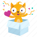 cat, emoji, emoticon, heart, sticker, surprise icon