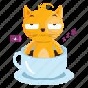 sticker, cat, coffee, tired, emoji, emoticon