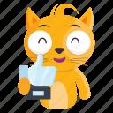 award, cat, emoji, emoticon, sticker, trophy icon