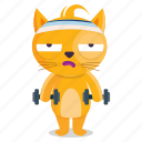 sticker, emoji, emoticon, cat, workout