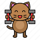avatar, cat, dumbbell, exercise, kitten icon