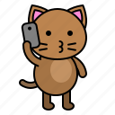 avatar, cat, kitten, phone, talking icon