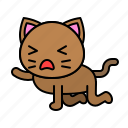 avatar, cat, kitten, kneeling, tired icon