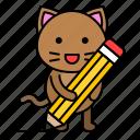 cat, kitten, pencil, avatar, writing, write