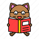 avatar, book, cat, kitten, learning, reading icon
