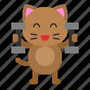 avatar, cat, dumbbell, exercise, kitten icon
