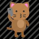 avatar, cat, kitten, phone, talking icon