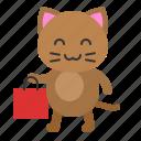 avatar, bag, cat, kitten, shopping icon