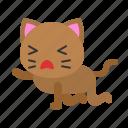 avatar, cat, kitten, kneeling, tired icon