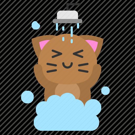 avatar, cat, clean, kitten, shower, take a bath icon
