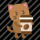 avatar, cat, coffee, kitten, sleepy, take away
