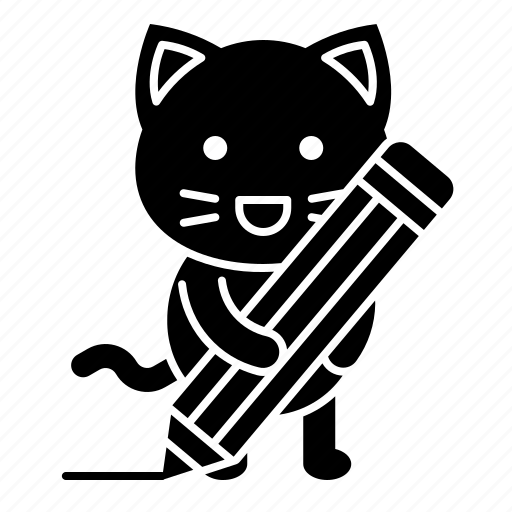 avatar, cat, kitten, pencil, write, writing icon