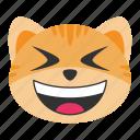 cat, emoji, emoticon, face, grin, happy, smile