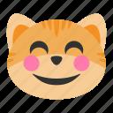 cat, cheerful, emoji, eyes, face, happy, smile