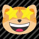 cat, emoji, emoticon, emotion, happy, star