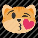blow, cat, cute, emoji, face, kiss, lips